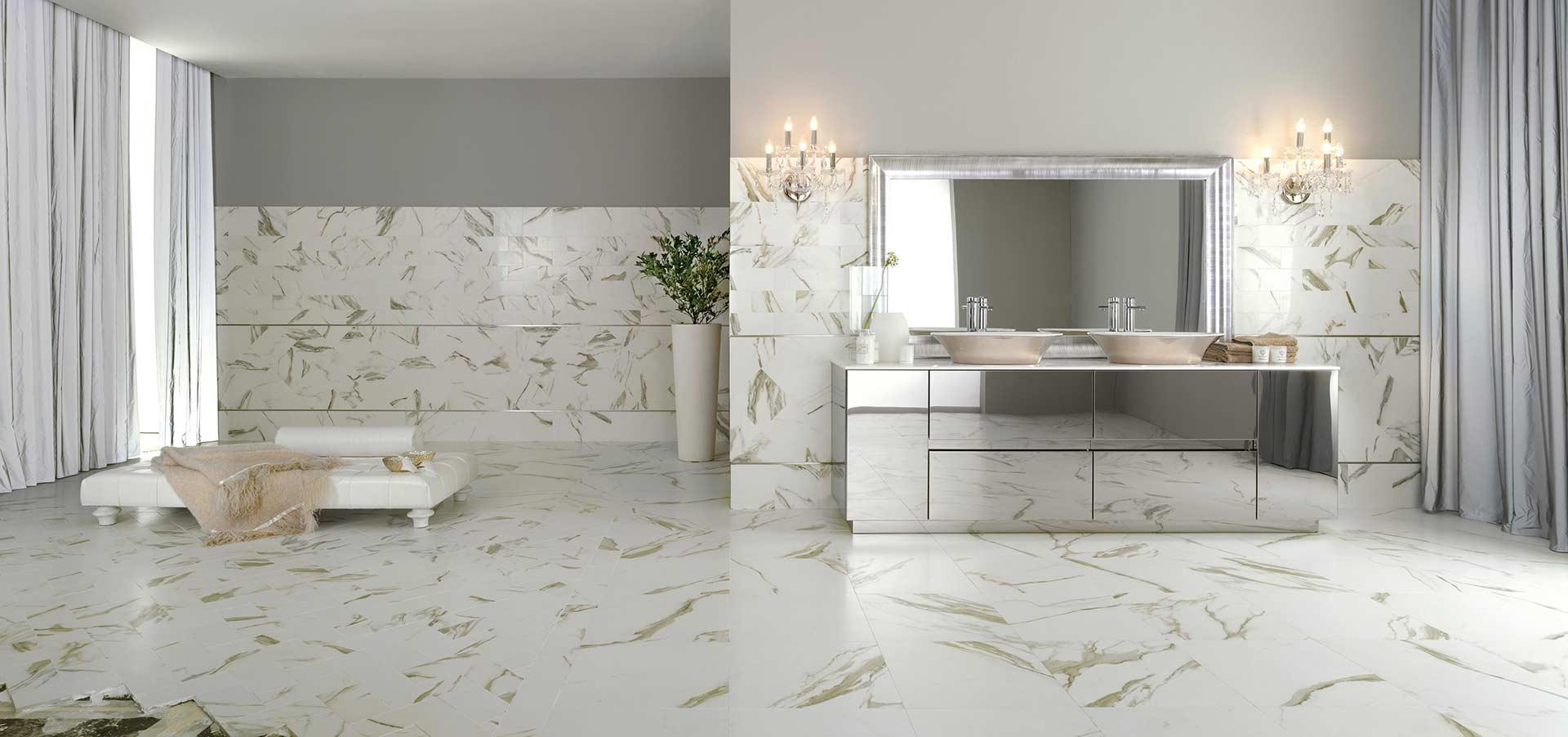 L 39 effetto marmo classico e senza tempo di cotto d 39 este - Rivestimento bagno effetto marmo ...