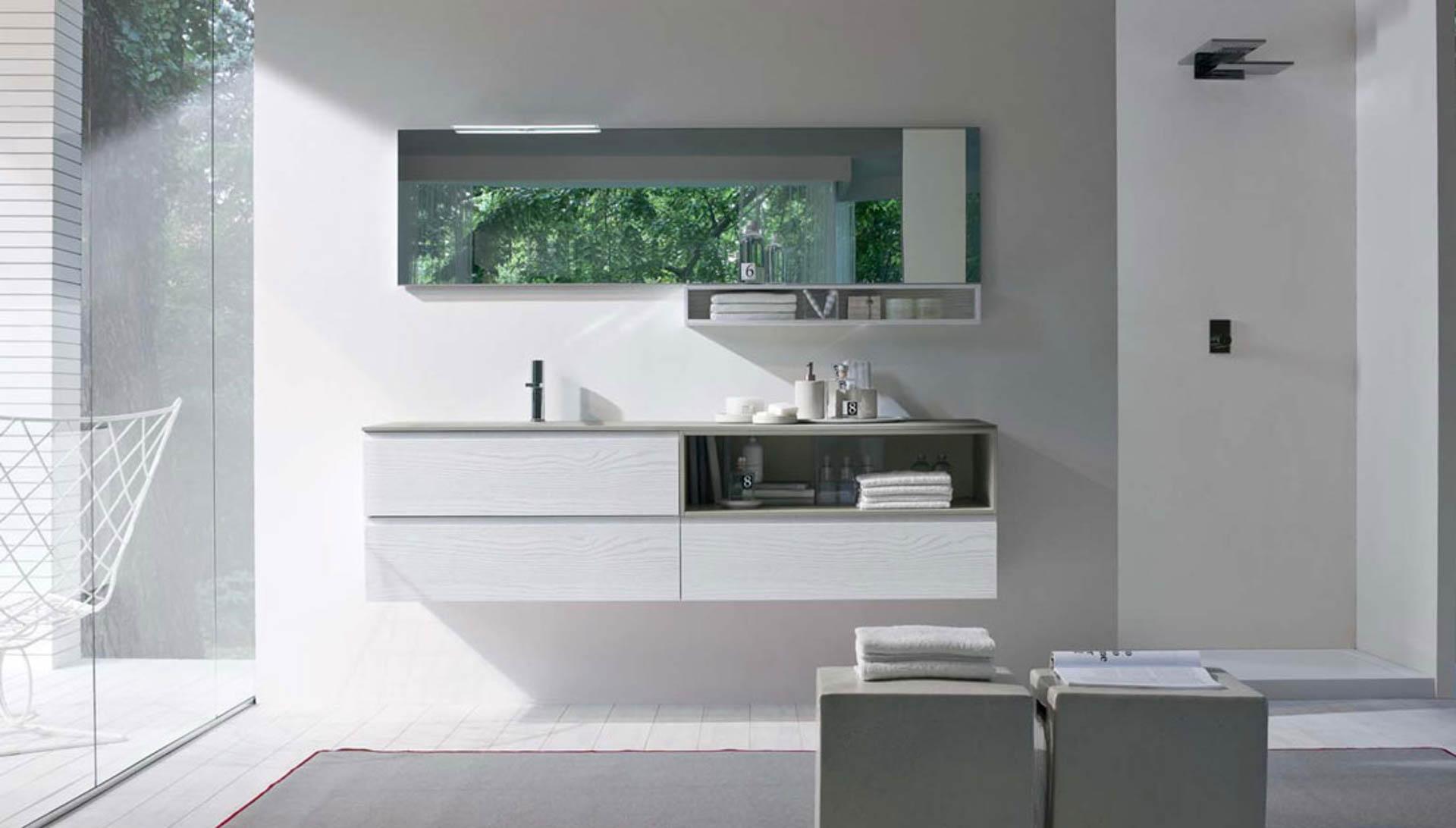 Il mobile bagno dalle forme morbide e lineari orsolini - Specchio da appoggio ...