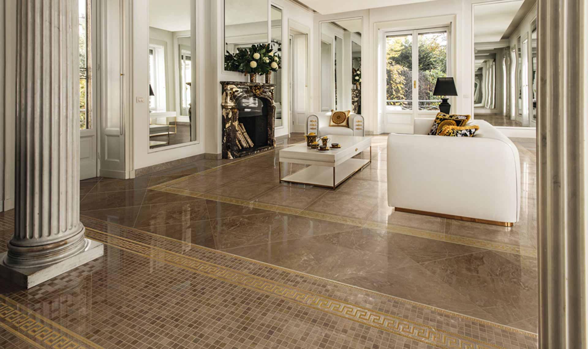 I marmi di lusso di versace ceramics orsolini for Immagini di pavimenti per interni