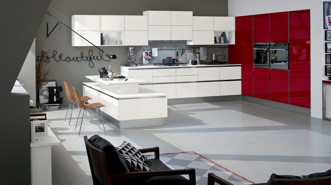 Colori laccati lucidi ed effetto vetro per la cucina Like.Go - Orsolini