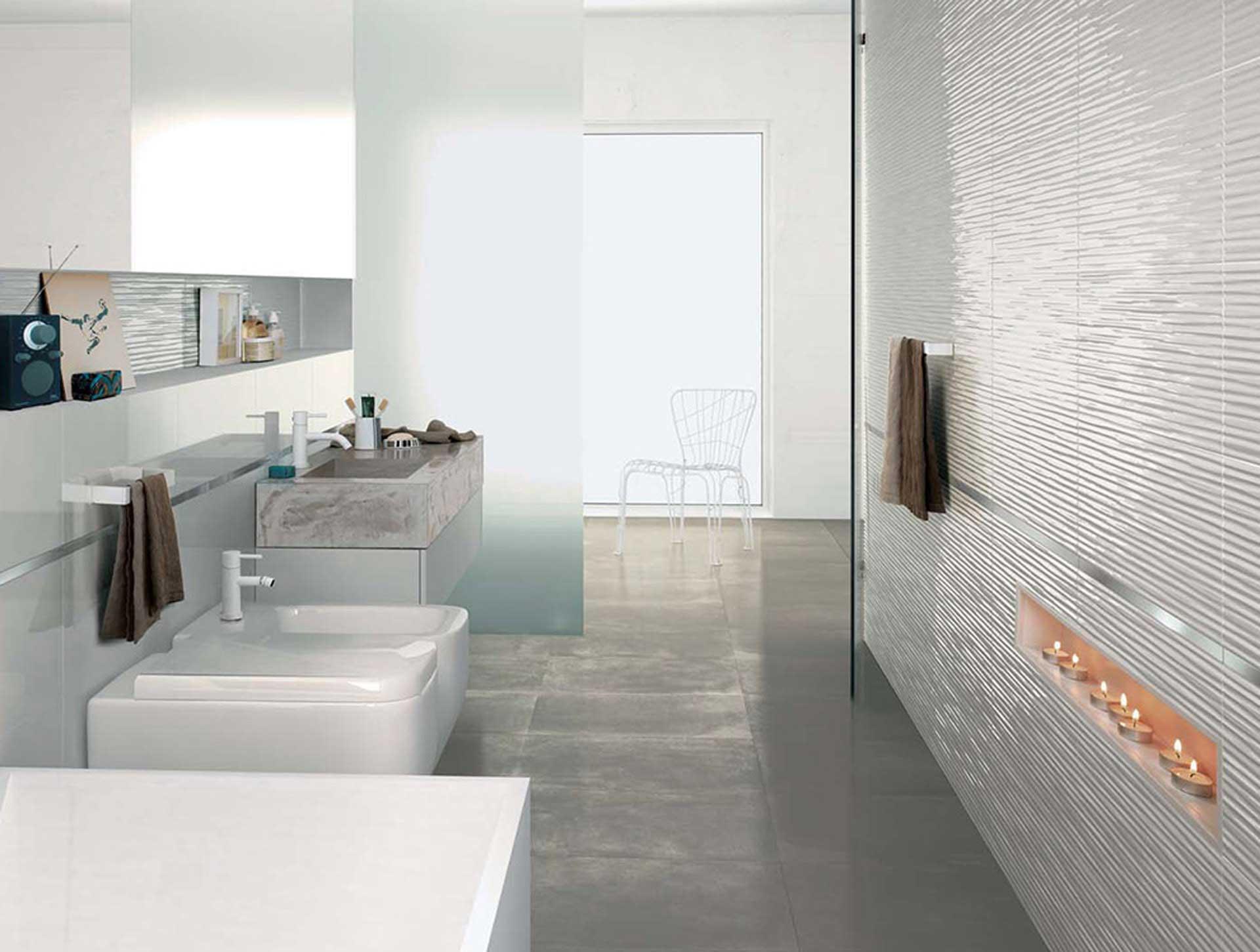 Il rivestimento bagno moderno di fap ceramiche orsolini - Decori piastrelle bagno ...
