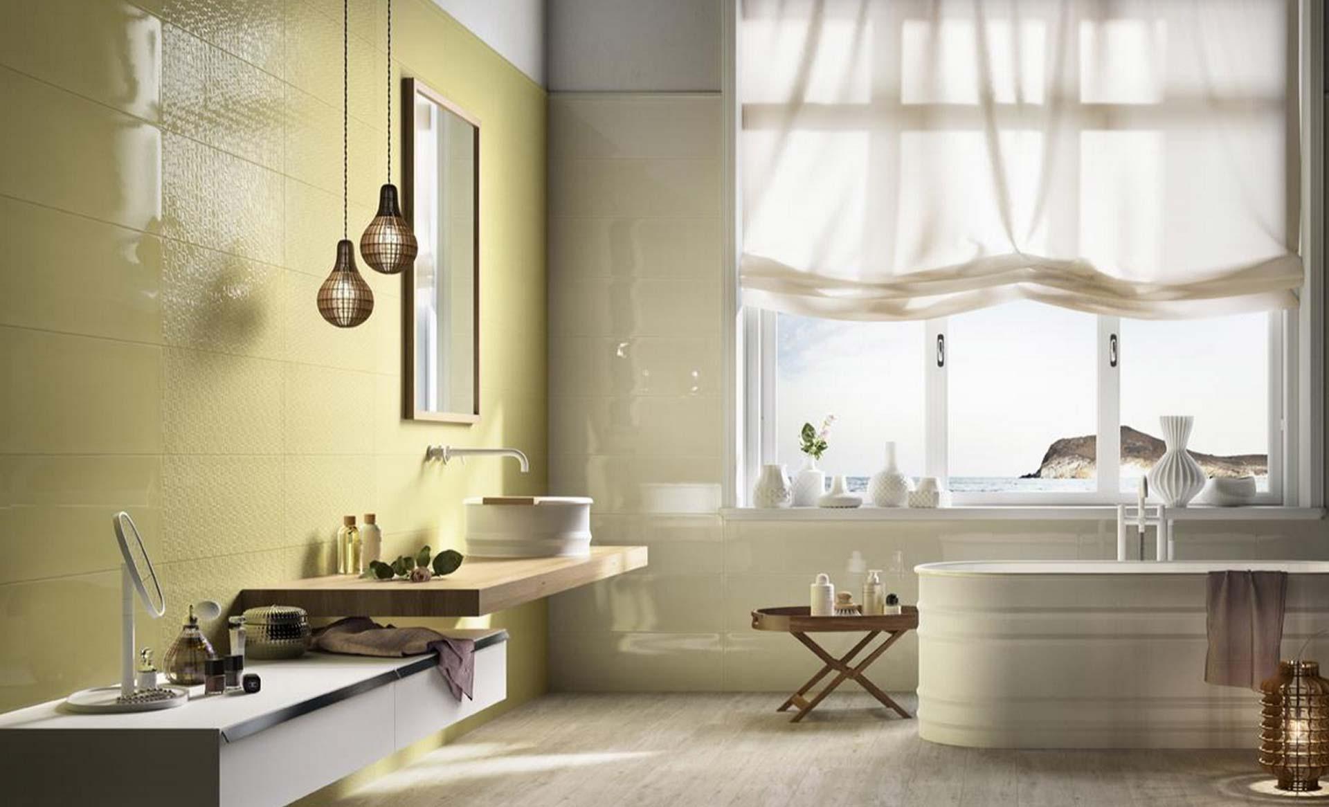 Poetique il rivestimento bagno colorato orsolini - Sanitari bagno beige ...