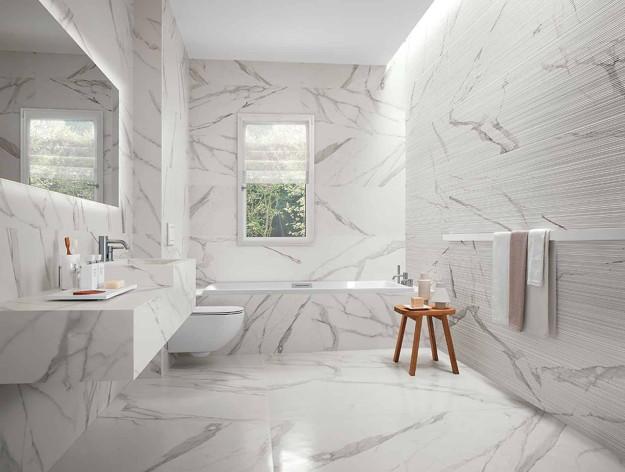 Roma il bagno effetto marmo dal fascino contemporaneo
