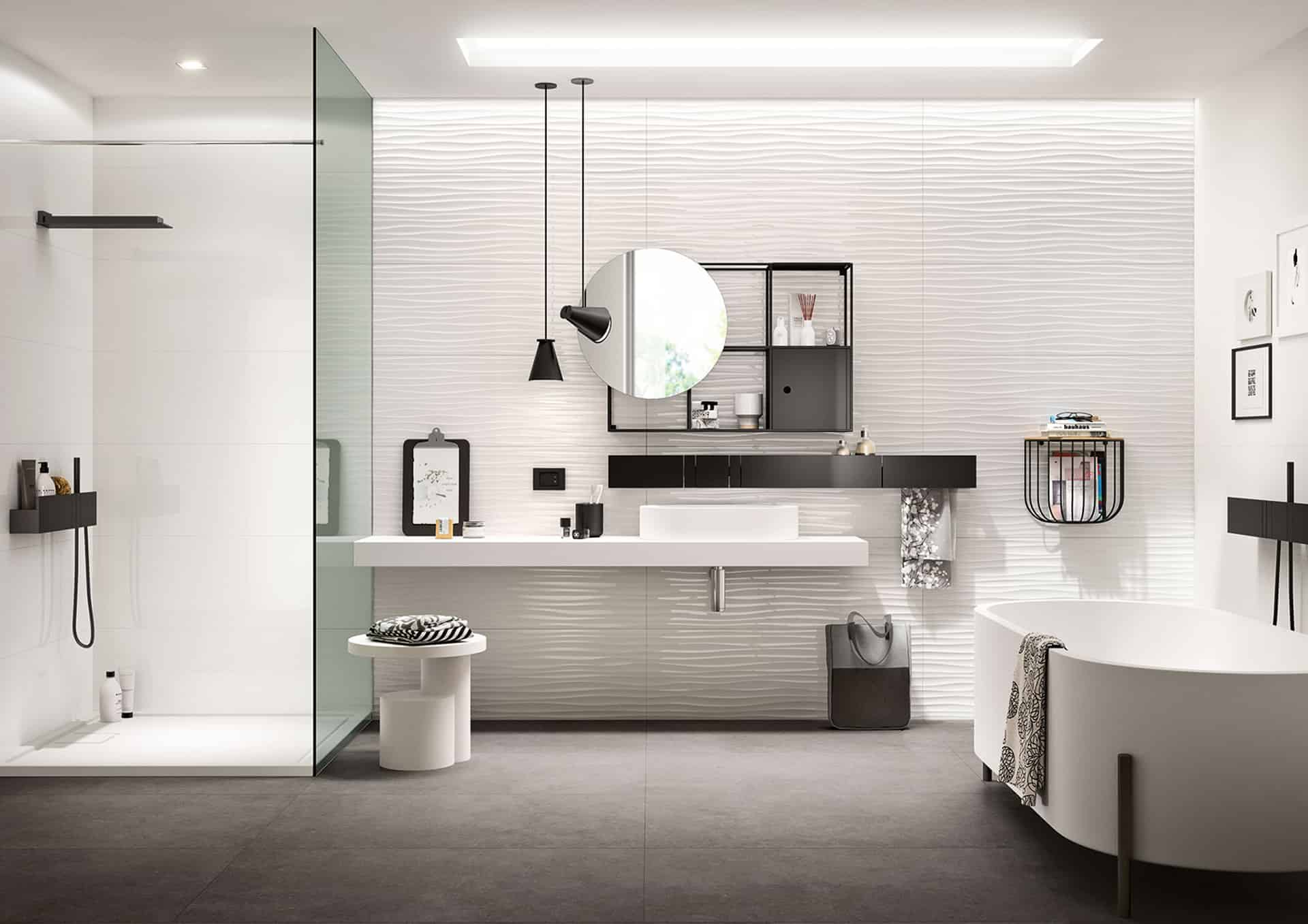 essenziale, il rivestimento bagno in bianco - Bagni Moderni Marazzi
