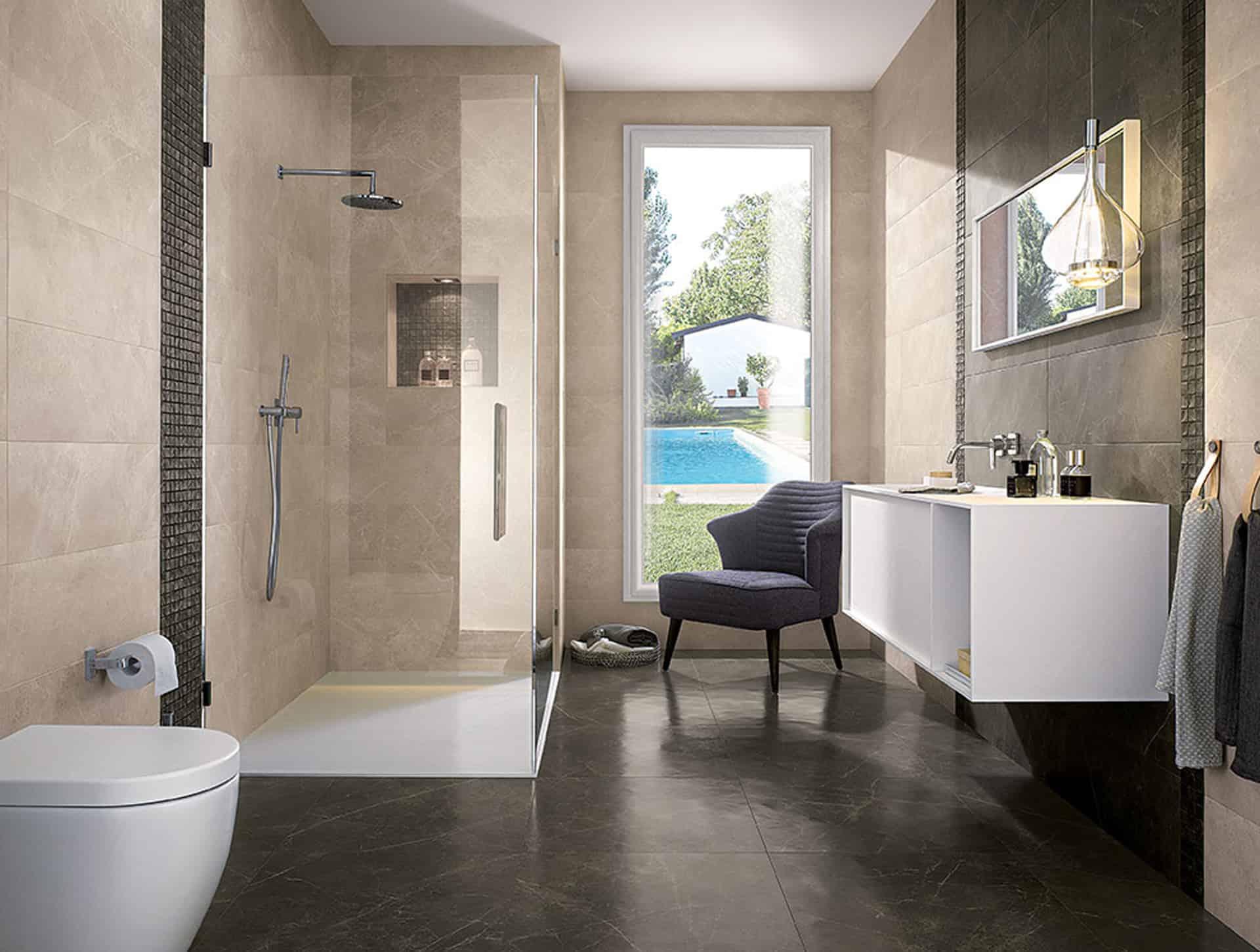 Roma il bagno effetto marmo dal fascino contemporaneo for Ceramiche bagno