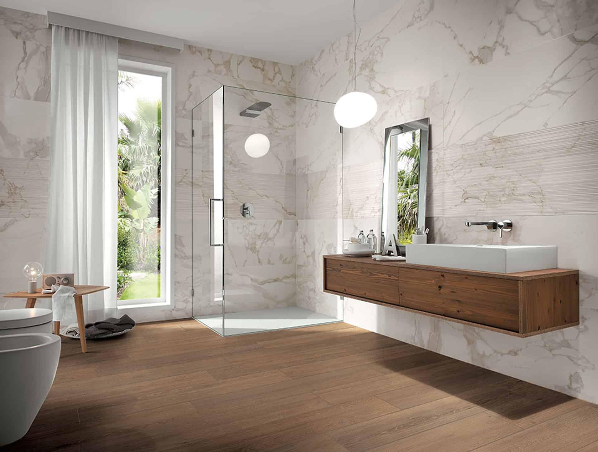 Roma il bagno effetto marmo dal fascino contemporaneo - Rivestimenti bagno roma ...