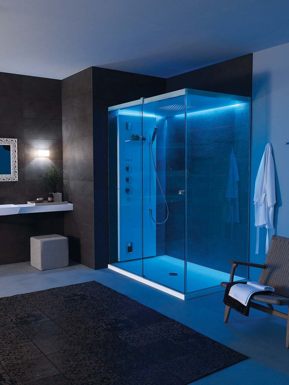 blue led bathroom lights cabine doccia teuco orsolini 17465
