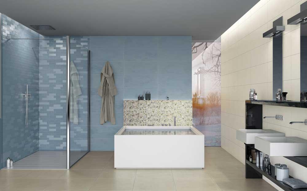 Con surface il rivestimento bagno diventa un gioco di superfici - Piastrelle bagno naxos ...