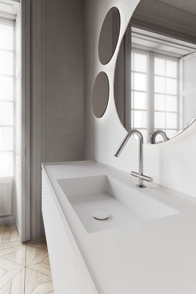 Dettaglio piano lavabo in Aquatek